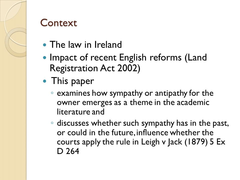 Context The law in Ireland