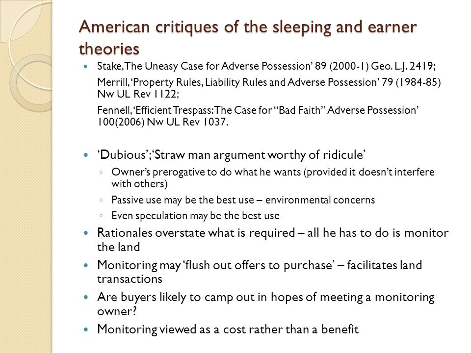 American critiques of the sleeping and earner theories