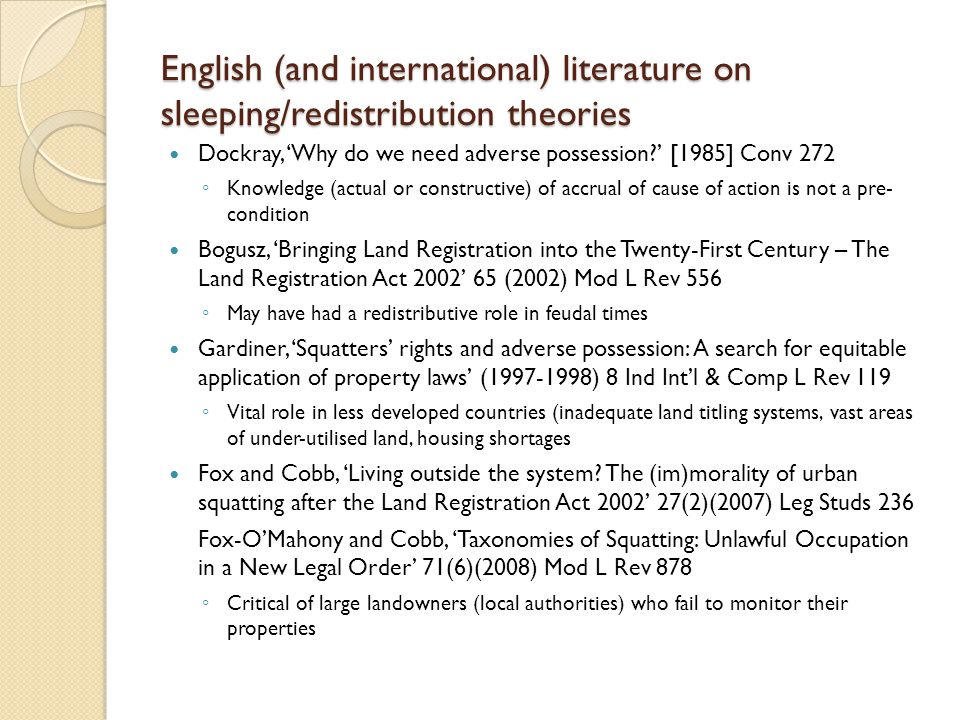 English (and international) literature on sleeping/redistribution theories