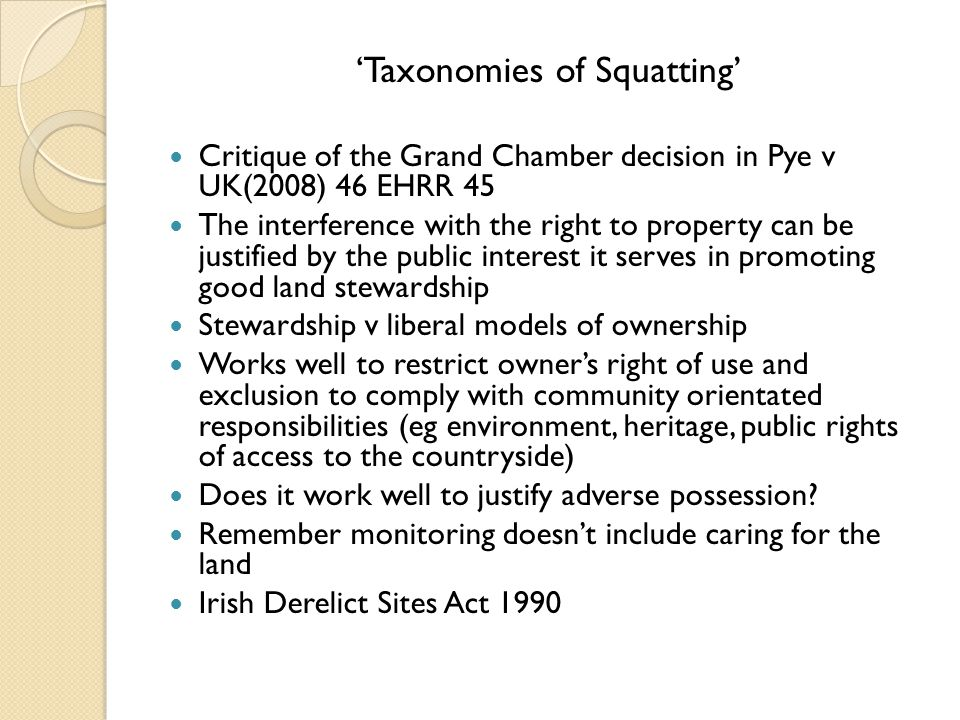 'Taxonomies of Squatting'