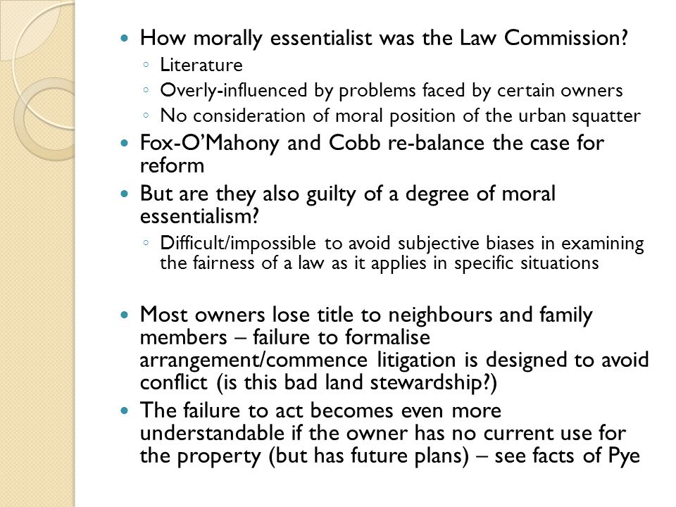 How morally essentialist was the Law Commission