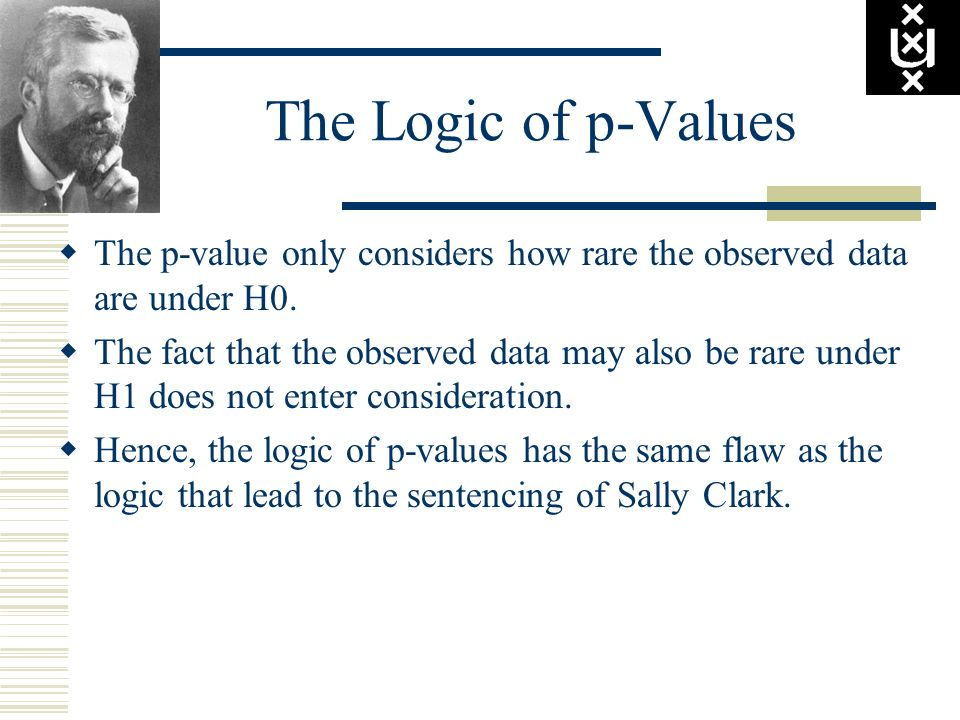 The Logic of p-Values The p-value only considers how rare the observed data are under H0.