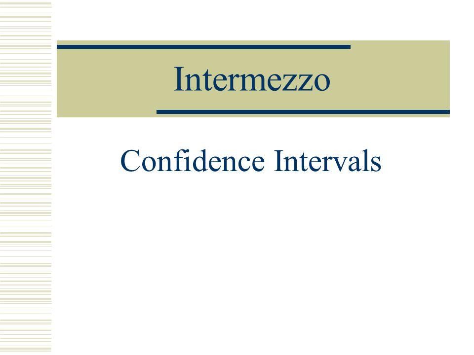 Intermezzo Confidence Intervals