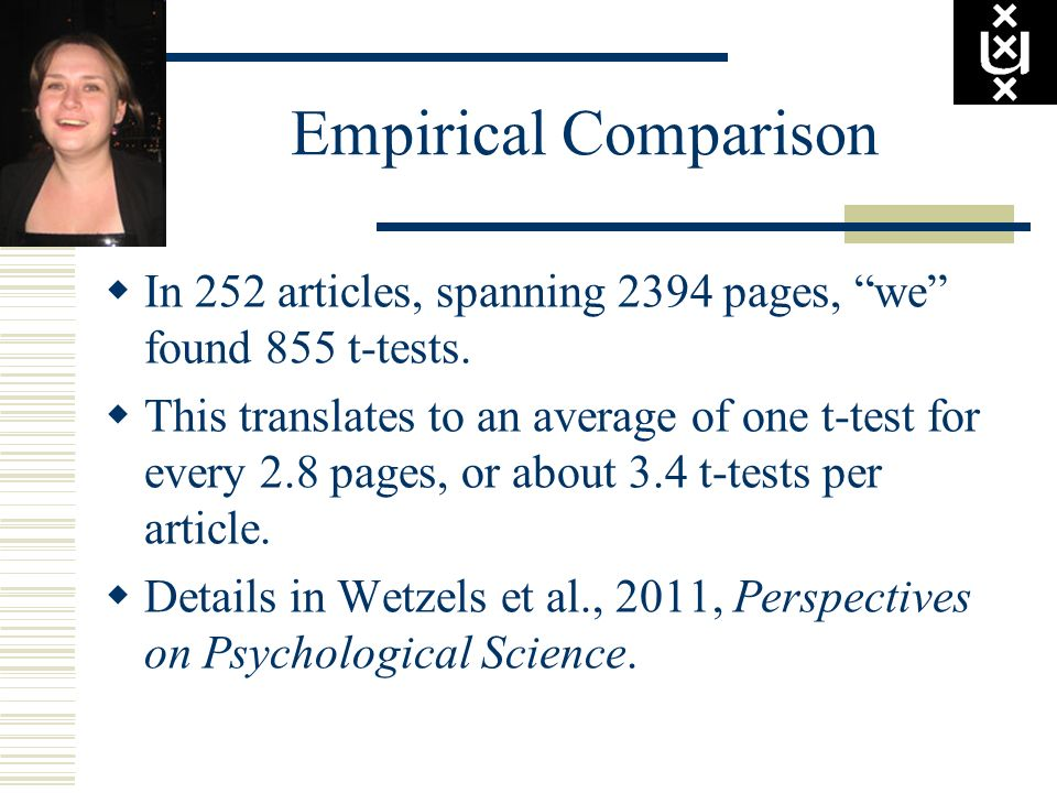 Empirical Comparison In 252 articles, spanning 2394 pages, we found 855 t-tests.
