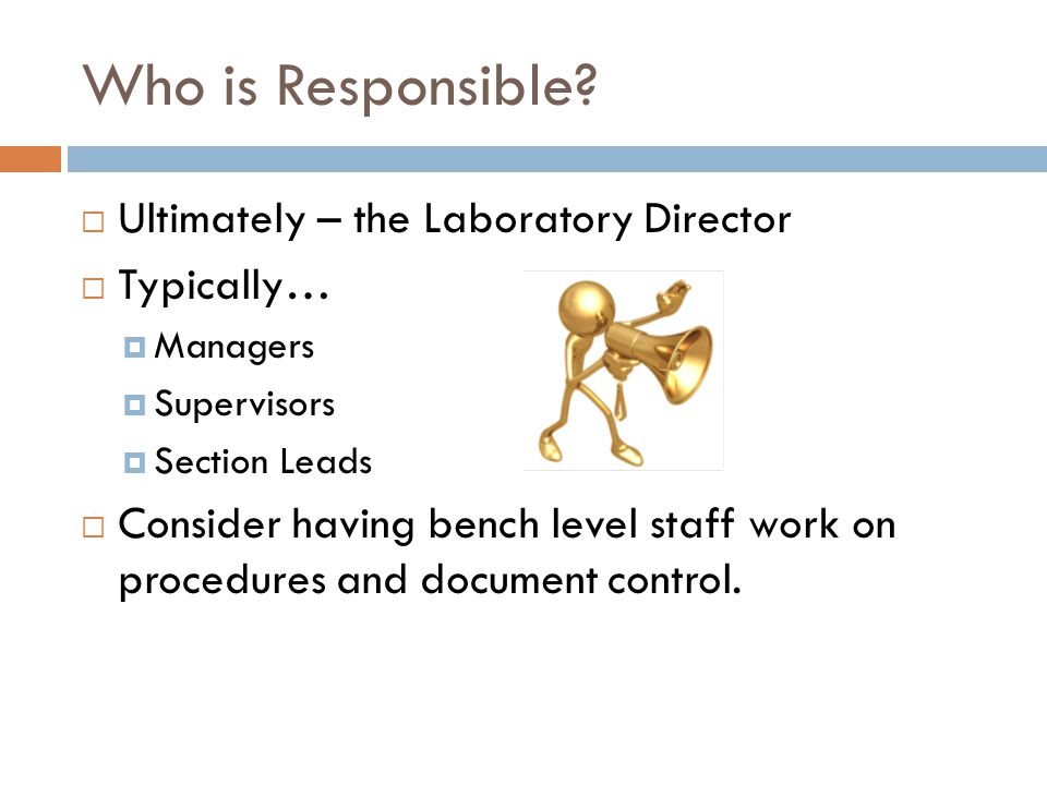 Who is Responsible Ultimately – the Laboratory Director Typically…