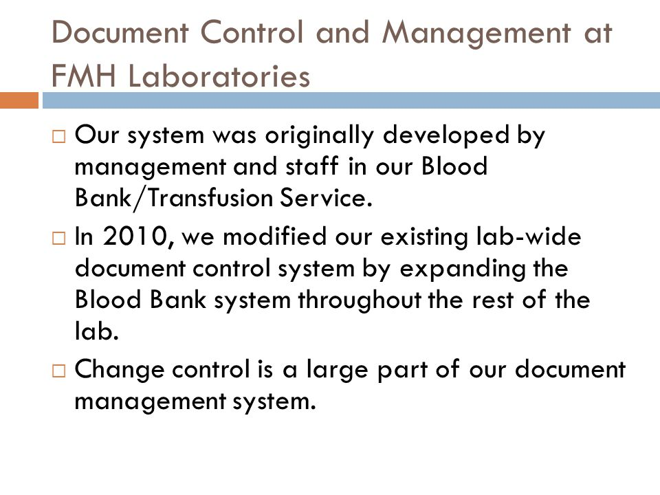 Document Control and Management at FMH Laboratories