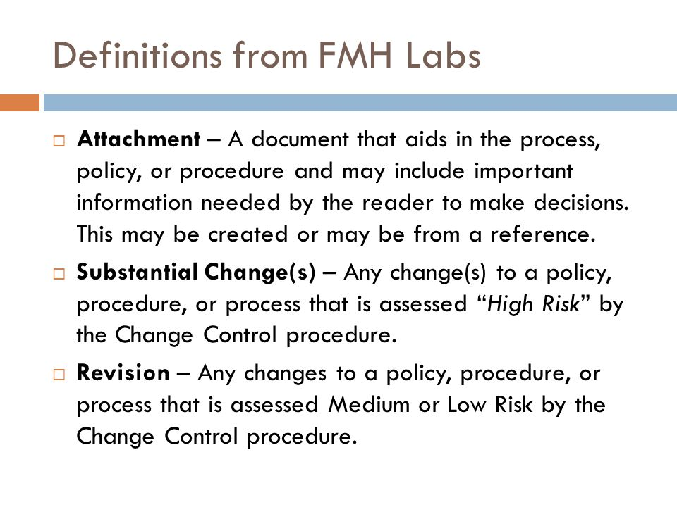 Definitions from FMH Labs
