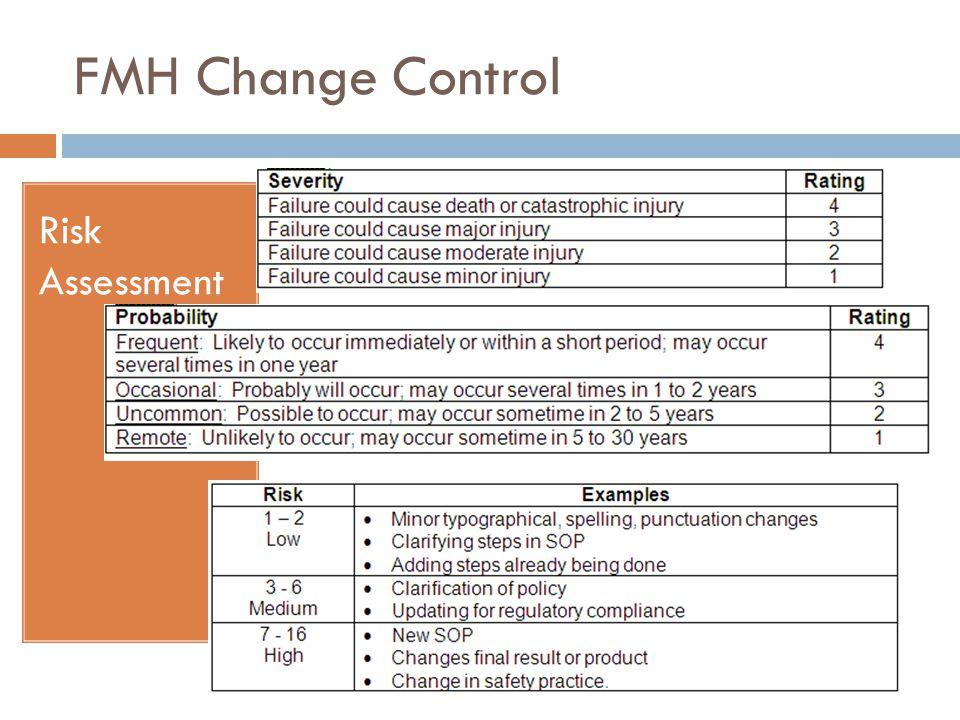 FMH Change Control Risk Assessment