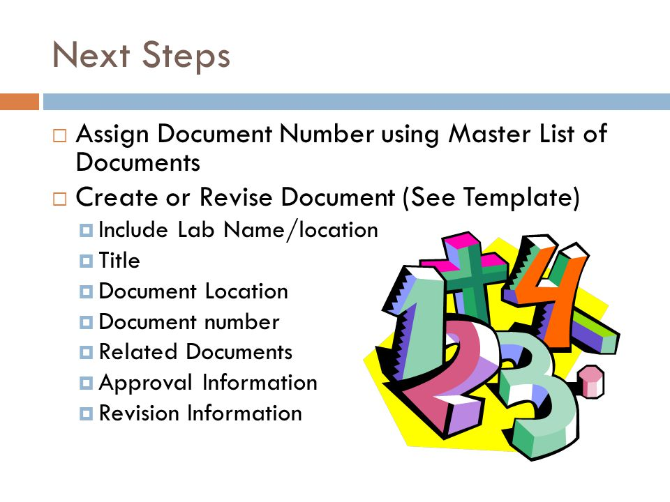 Next Steps Assign Document Number using Master List of Documents