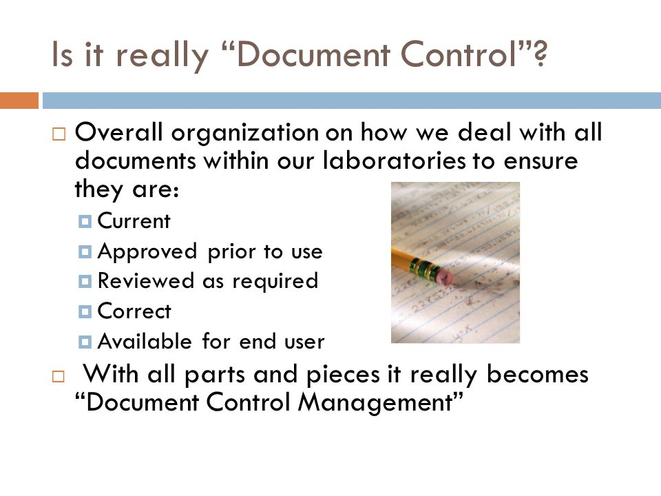 Is it really Document Control