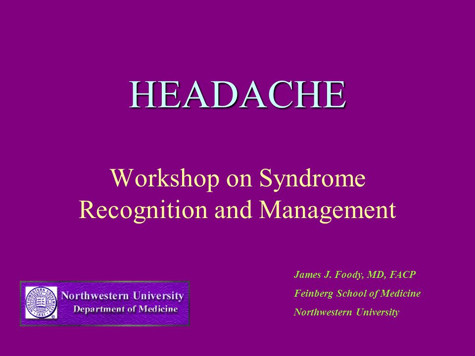 Workshop on Syndrome Recognition and Management