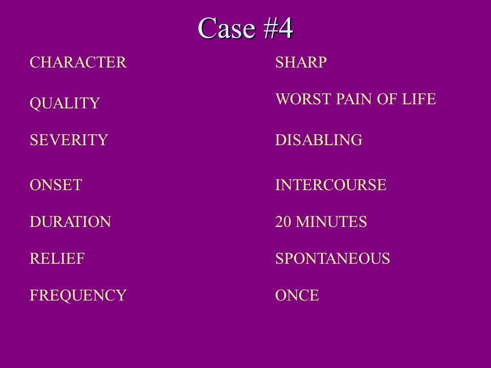 Case #4 CHARACTER SHARP WORST PAIN OF LIFE QUALITY SEVERITY DISABLING