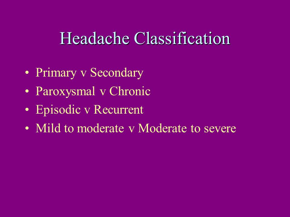 Headache Classification
