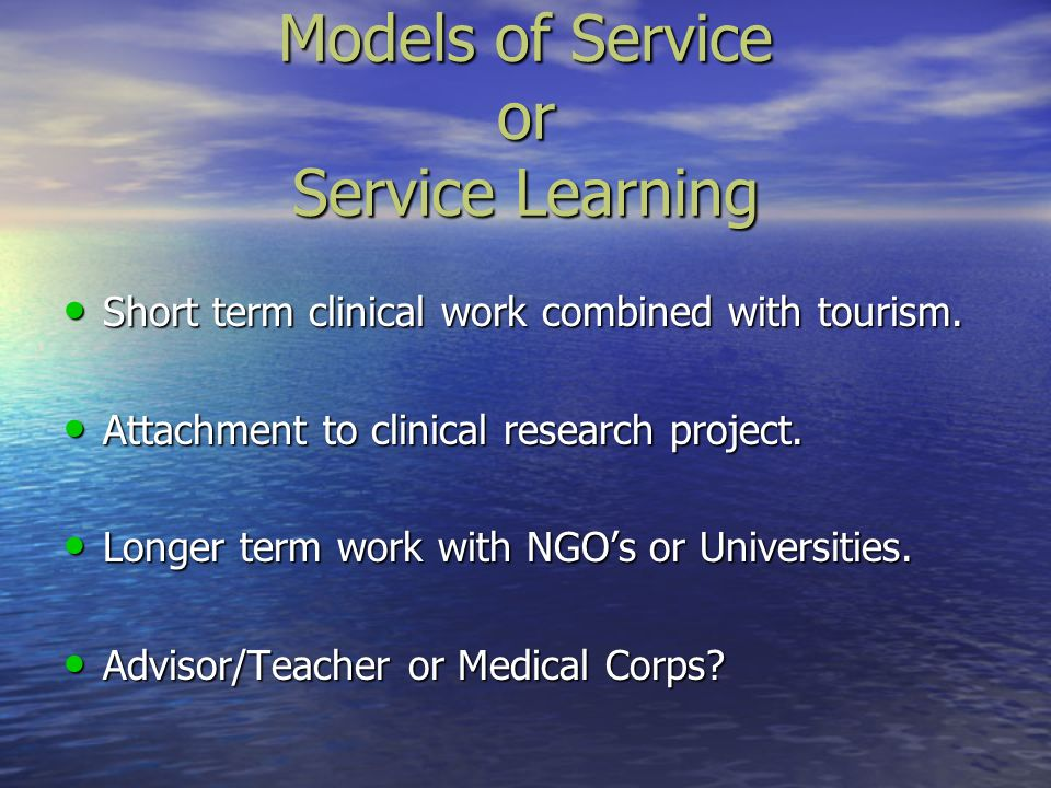 Models of Service or Service Learning