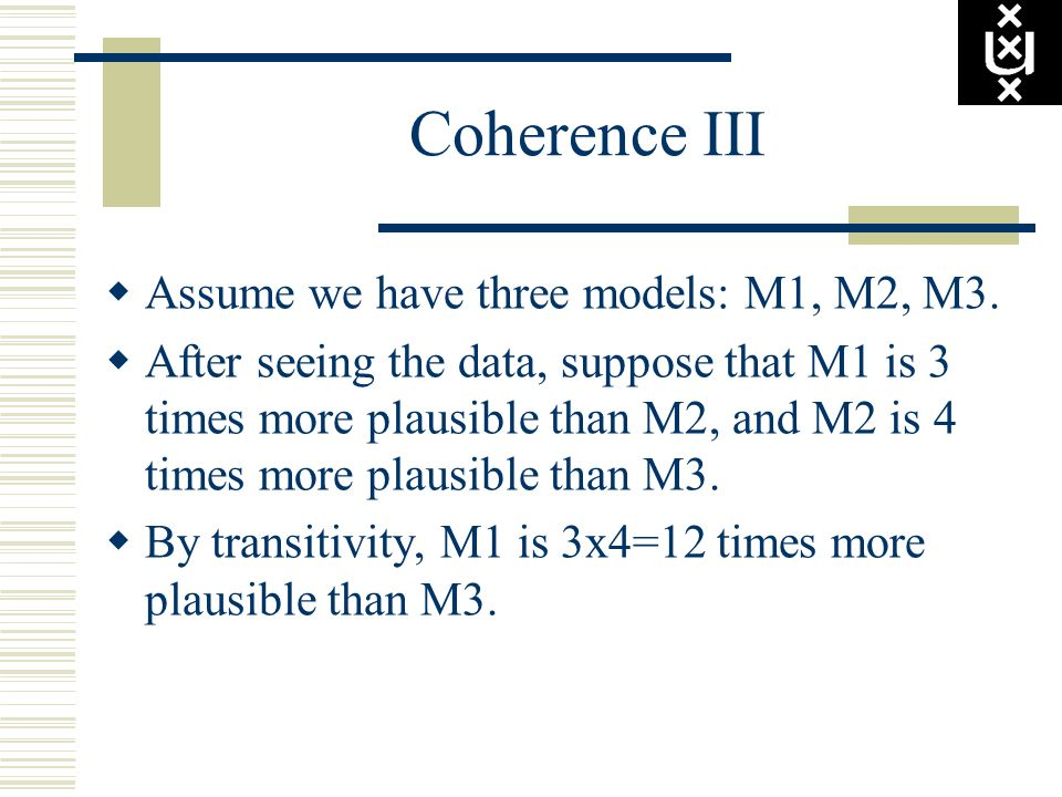 Coherence III Assume we have three models: M1, M2, M3.