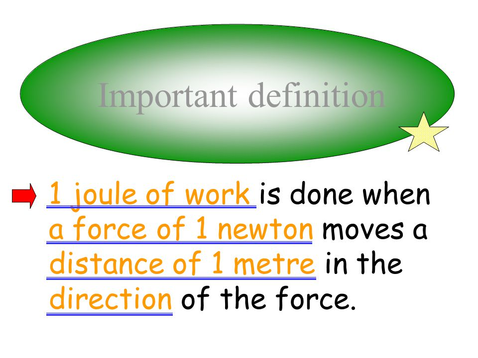 Important definition 1 joule of work is done when a force of 1 newton moves a distance of 1 metre in the direction of the force.