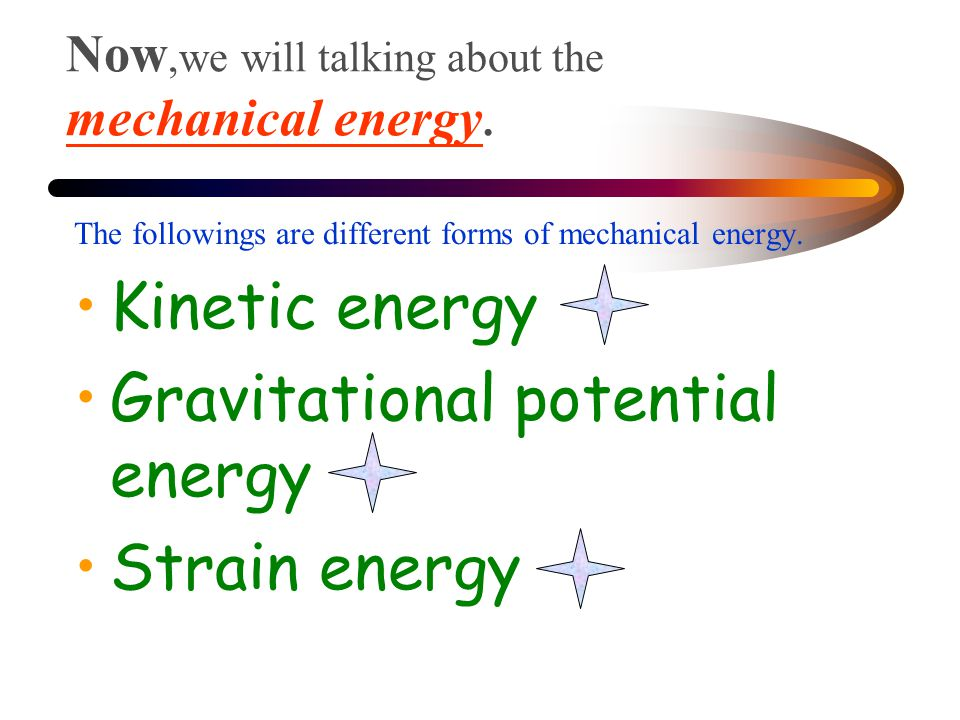 Now,we will talking about the mechanical energy.
