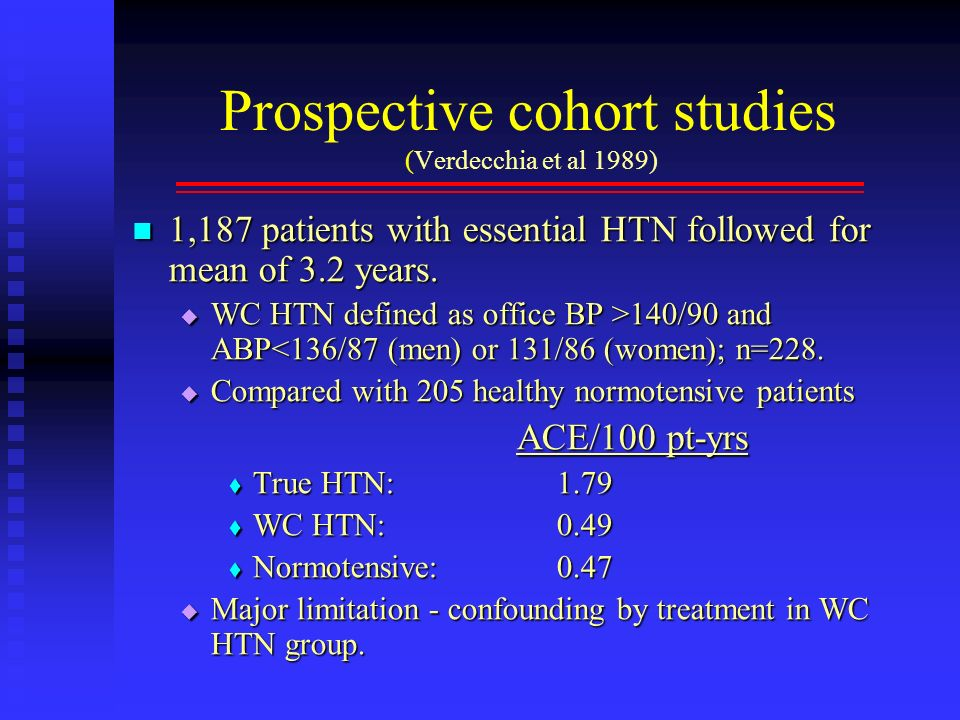 Prospective cohort studies (Verdecchia et al 1989)