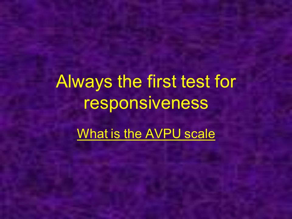 Always the first test for responsiveness