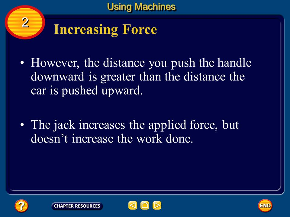 Using Machines 2. Increasing Force. However, the distance you push the handle downward is greater than the distance the car is pushed upward.