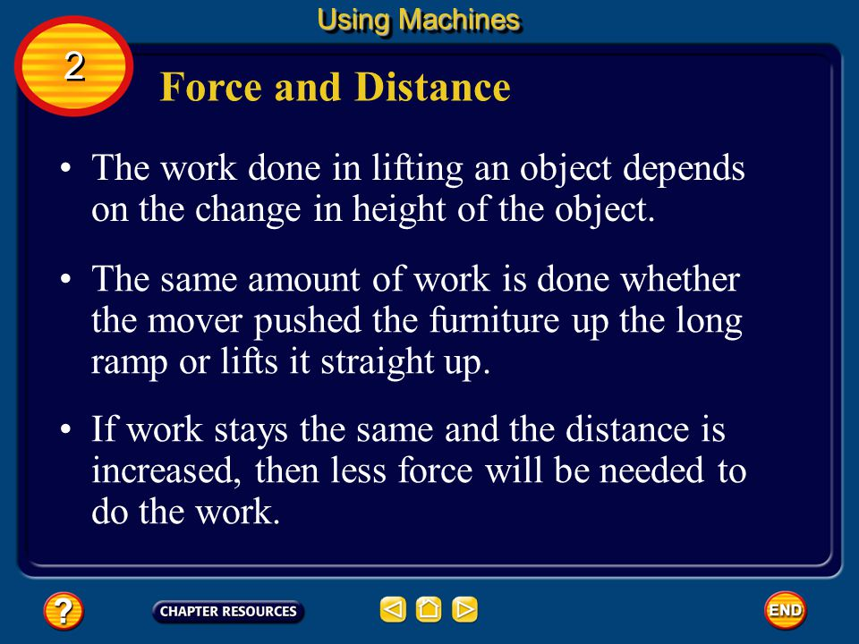 Using Machines 2. Force and Distance. The work done in lifting an object depends on the change in height of the object.