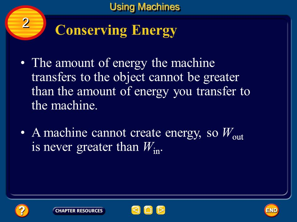Using Machines 2. Conserving Energy.