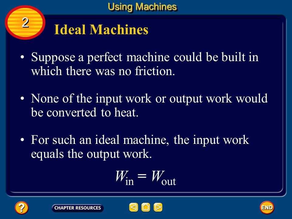 Using Machines 2. Ideal Machines. Suppose a perfect machine could be built in which there was no friction.