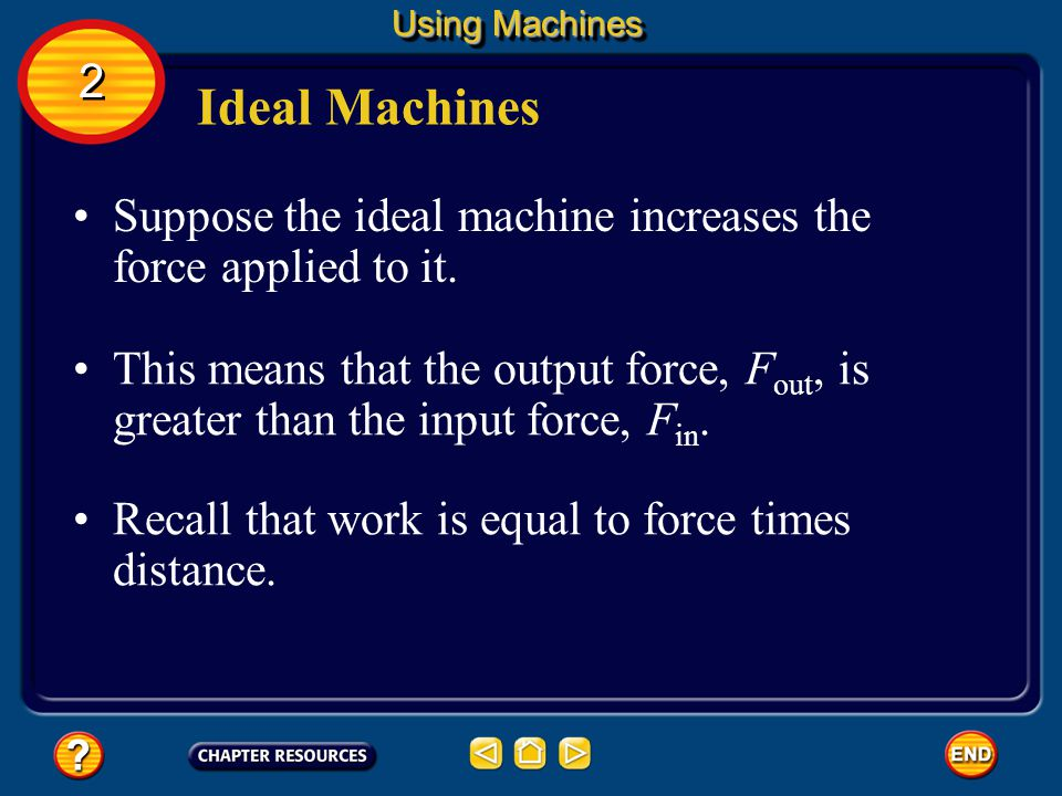 Using Machines 2. Ideal Machines. Suppose the ideal machine increases the force applied to it.