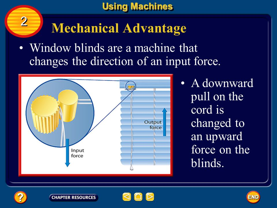 Using Machines 2. Mechanical Advantage. Window blinds are a machine that changes the direction of an input force.