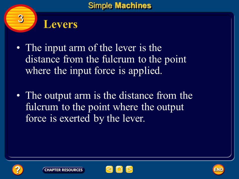 Simple Machines 3. Levers. The input arm of the lever is the distance from the fulcrum to the point where the input force is applied.