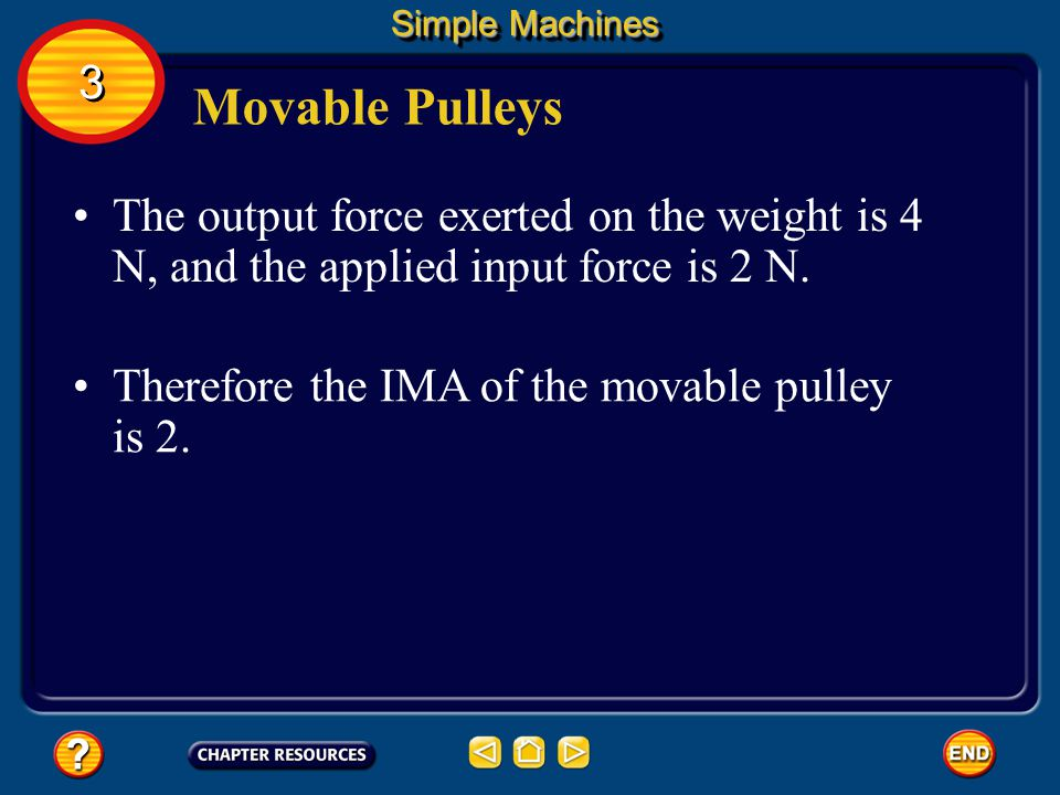 Simple Machines 3. Movable Pulleys. The output force exerted on the weight is 4 N, and the applied input force is 2 N.