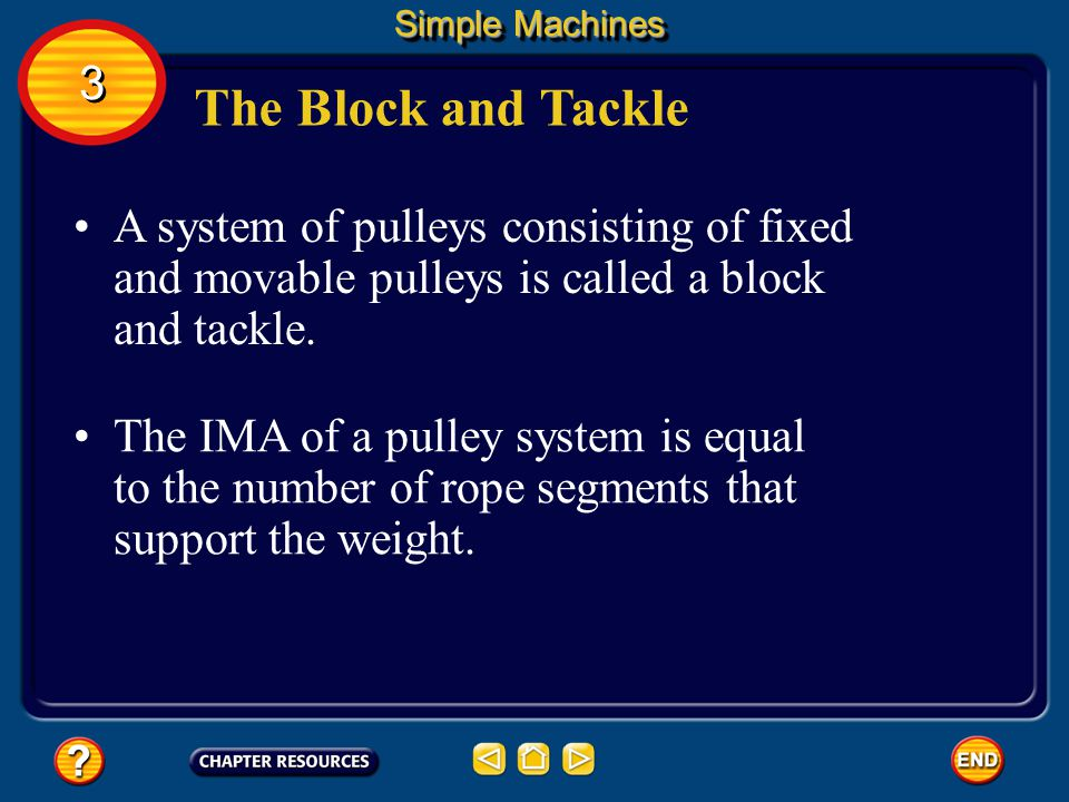 Simple Machines 3. The Block and Tackle. A system of pulleys consisting of fixed and movable pulleys is called a block and tackle.