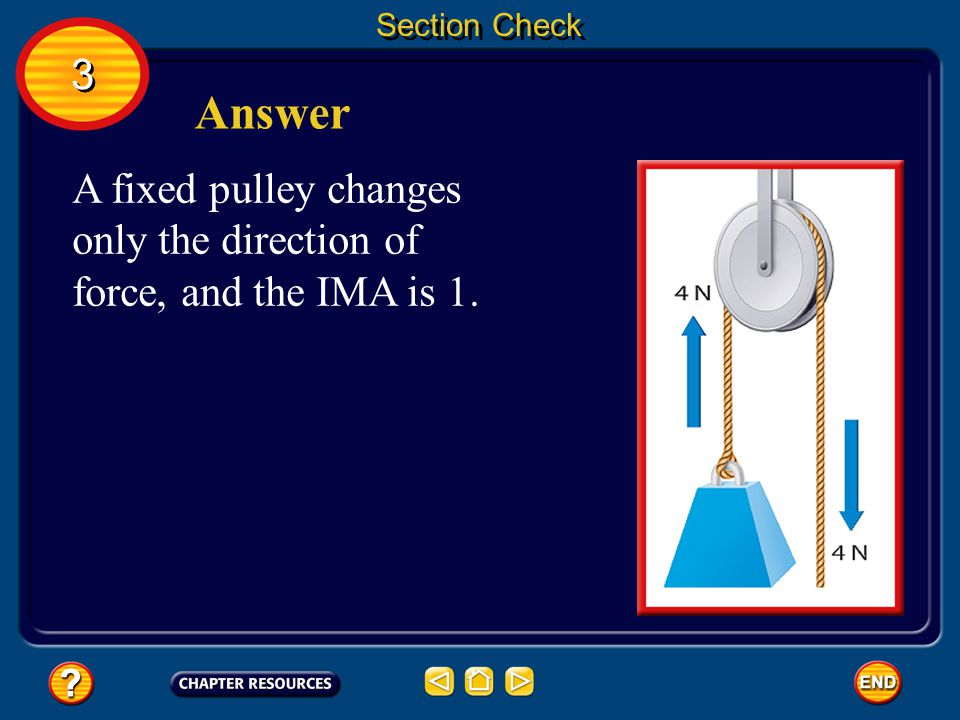 Section Check 3 Answer A fixed pulley changes only the direction of force, and the IMA is 1.
