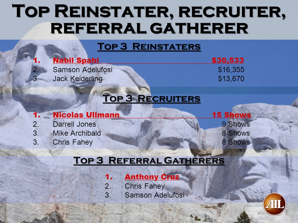 Top Reinstater, recruiter, referral gatherer