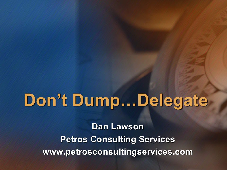 Dan Lawson Petros Consulting Services www.petrosconsultingservices.com