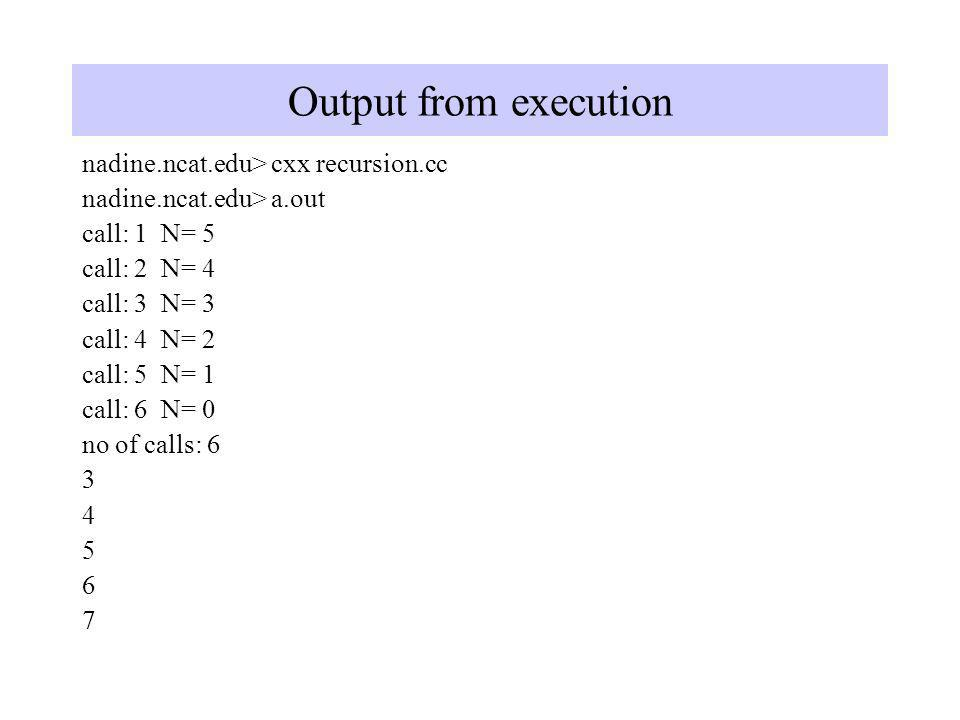 Output from execution nadine.ncat.edu> cxx recursion.cc