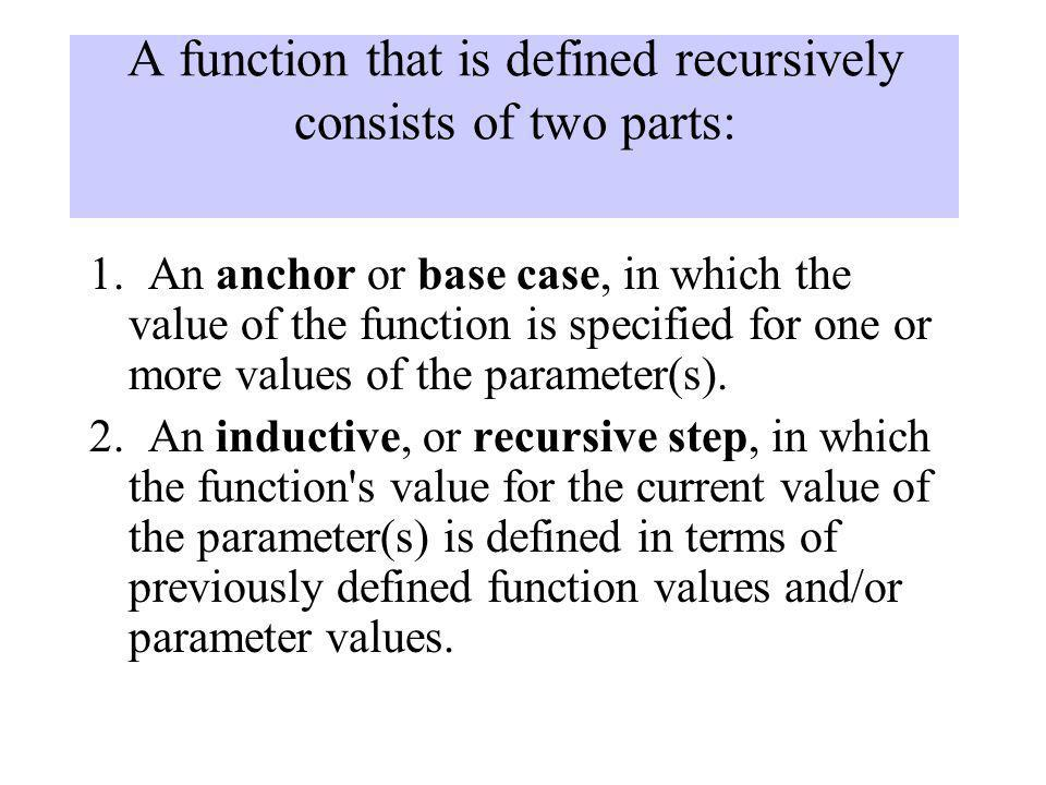 A function that is defined recursively consists of two parts: