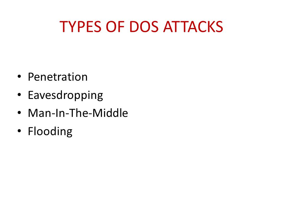 Types of DoS Attacks Penetration Eavesdropping Man-In-The-Middle