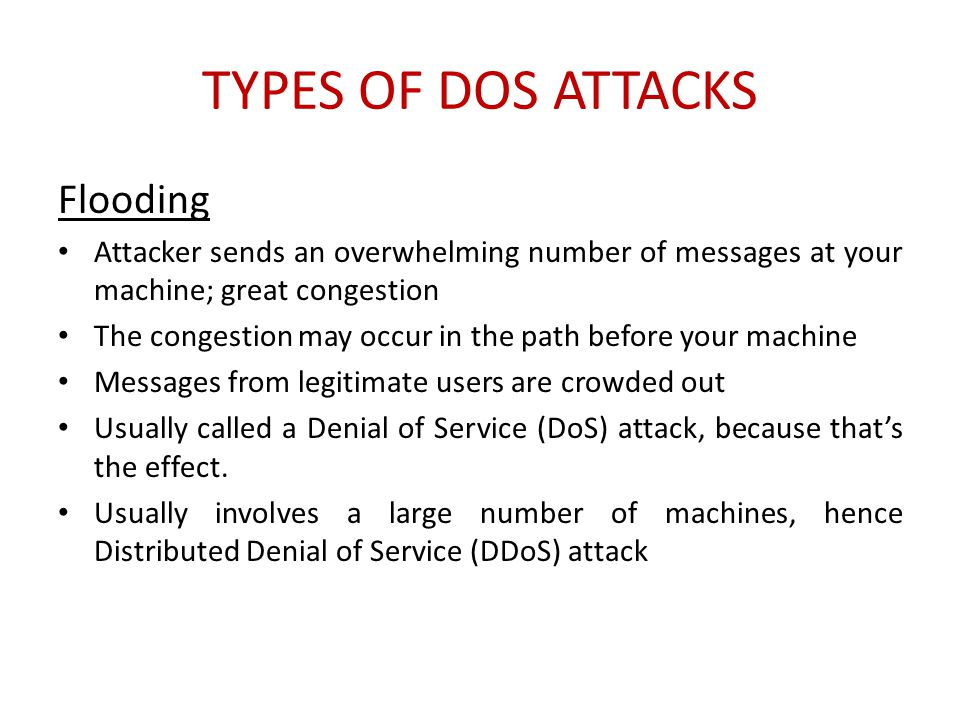 Types of DoS Attacks Flooding