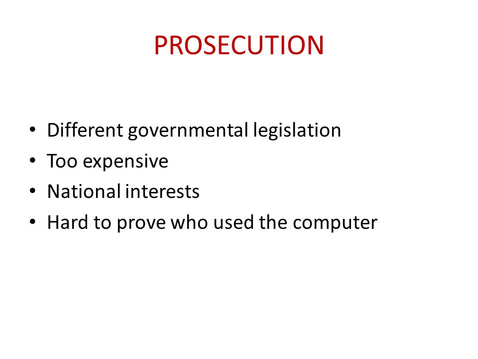 Prosecution Different governmental legislation Too expensive