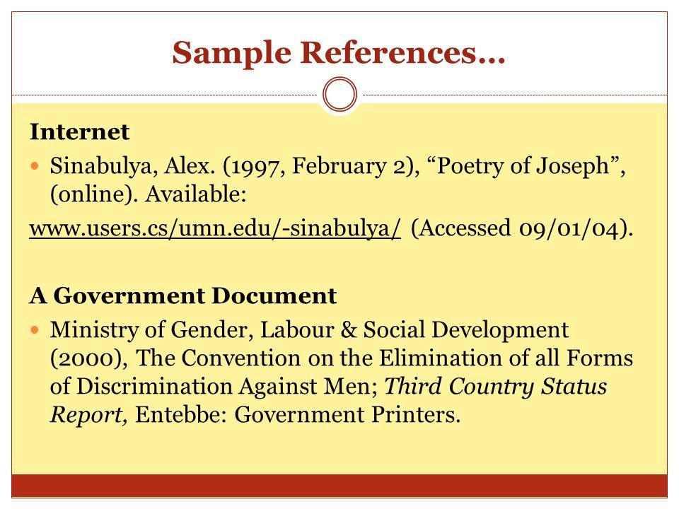 Sample References… Internet