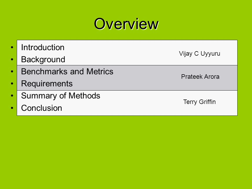 Overview Introduction Background Benchmarks and Metrics Requirements