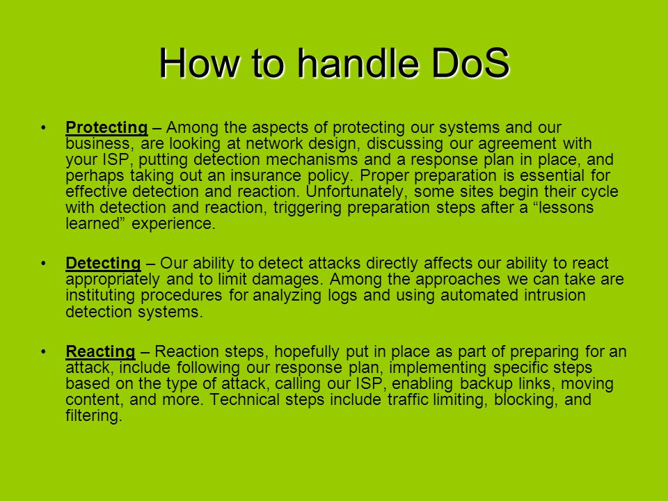 How to handle DoS
