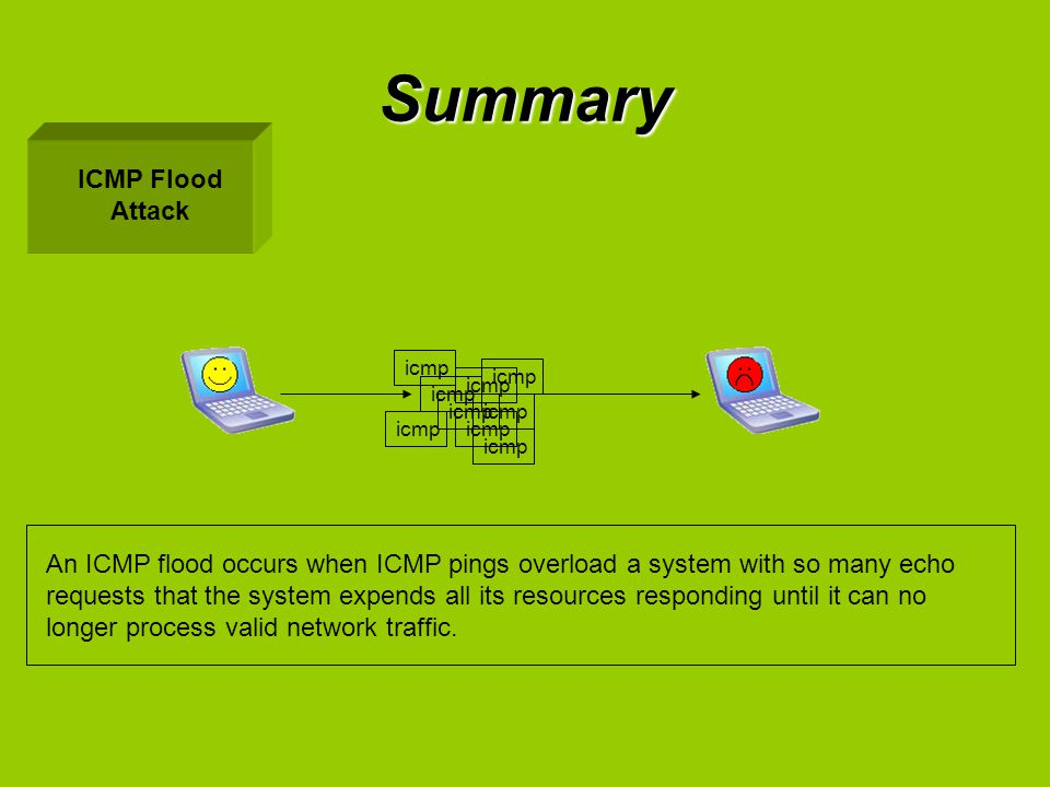 Summary ICMP Flood Attack
