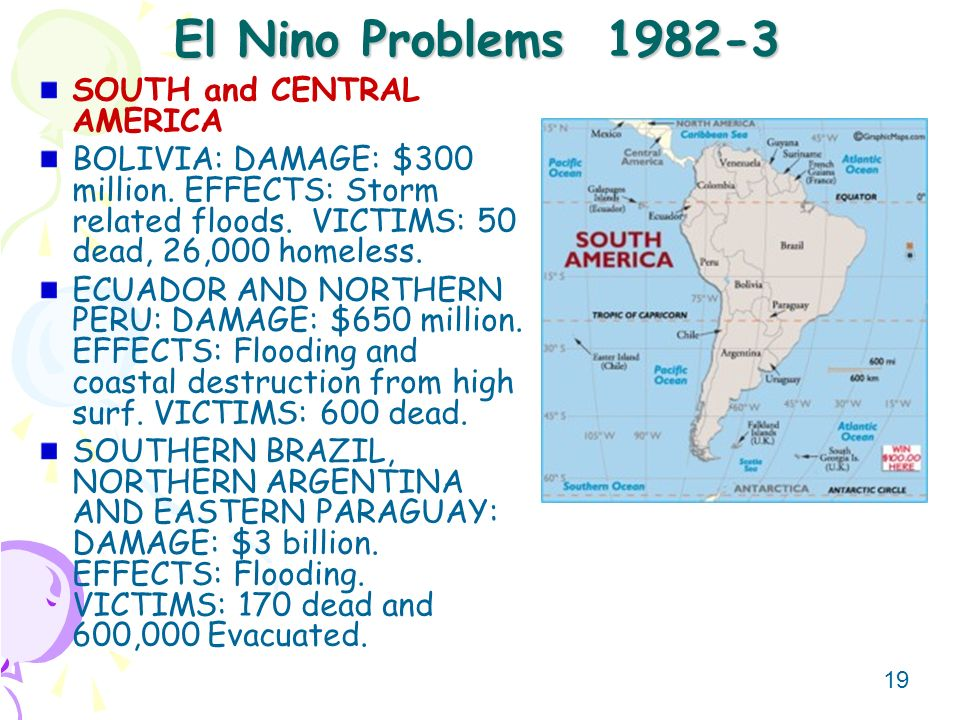 El Nino Problems SOUTH and CENTRAL AMERICA