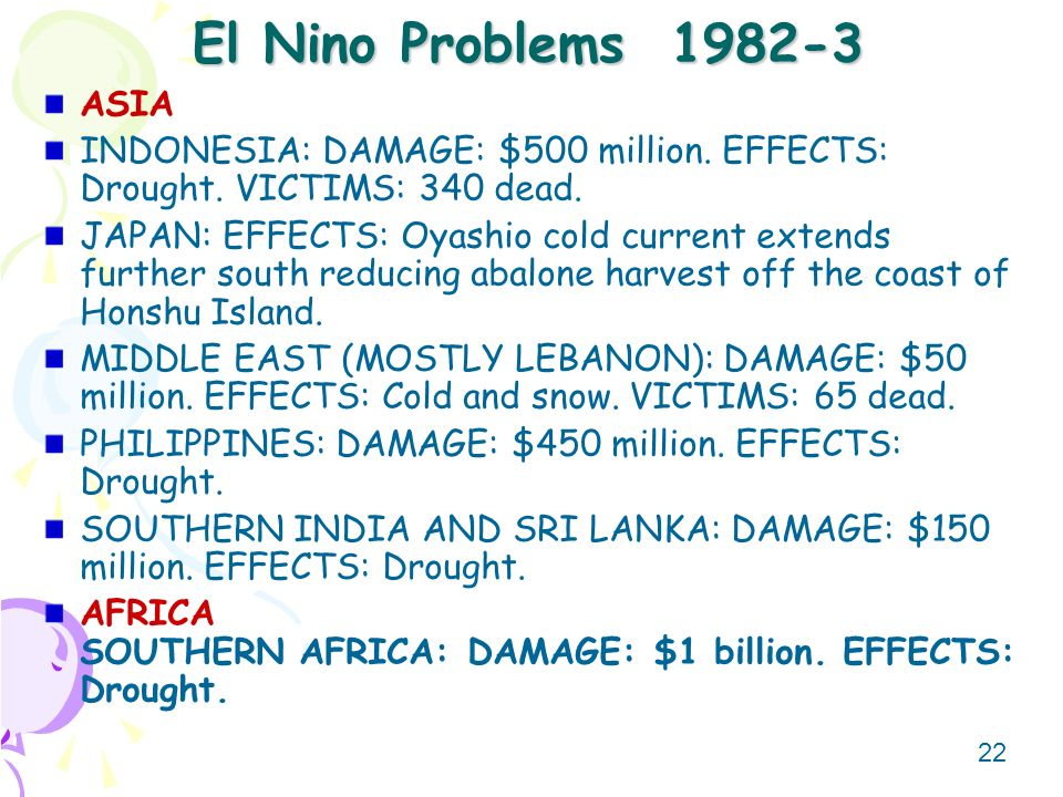 El Nino Problems ASIA. INDONESIA: DAMAGE: $500 million. EFFECTS: Drought. VICTIMS: 340 dead.