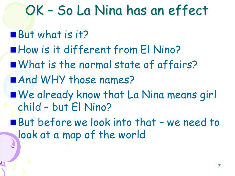 OK – So La Nina has an effect