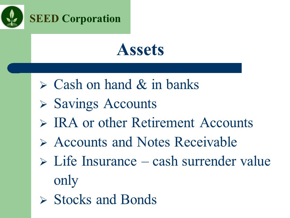 Assets Cash on hand & in banks Savings Accounts