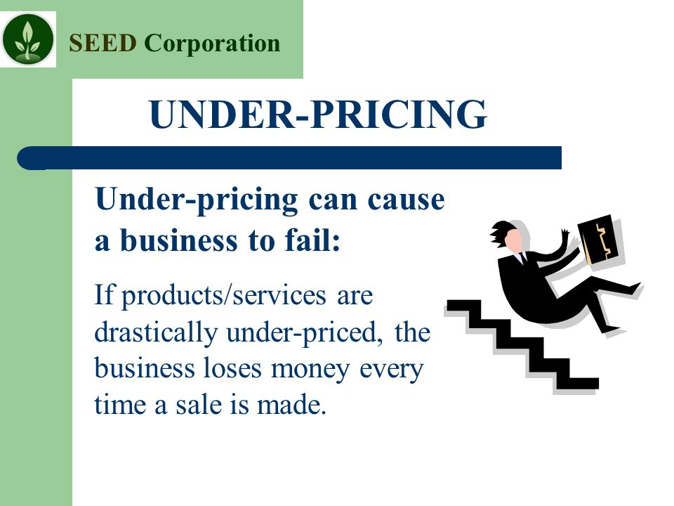 UNDER-PRICING Under-pricing can cause a business to fail: