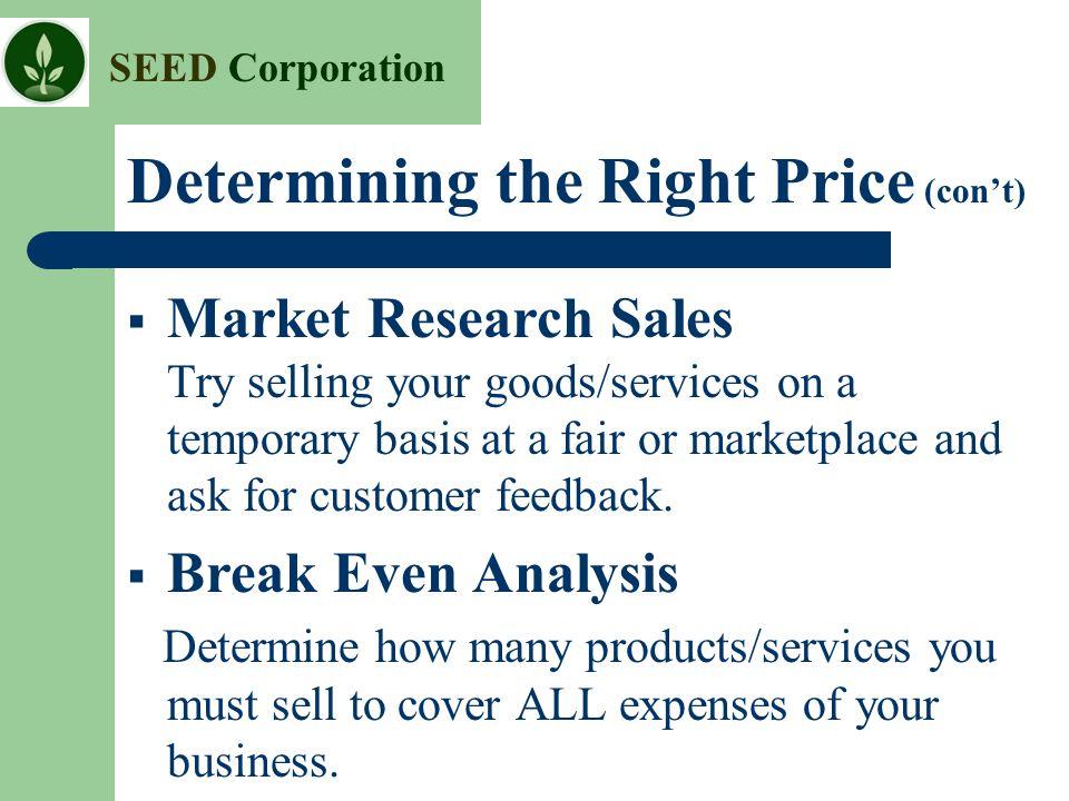 Determining the Right Price (con't)